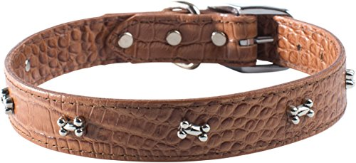 "OmniPet Faux Crocodile Signature Leather Pet Collar with Bone Ornaments, Mocha, 1/2 by 14"" von OmniPet"