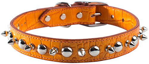 "OmniPet Faux Crocodile Signature Leather Pet Collar with Spike and Stud Ornaments, Orange, 3/4 by 18"" von OmniPet"