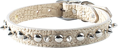 "OmniPet Faux Crocodile Signature Leather Pet Collar with Spike and Stud Ornaments, Pearl, 1/2 by 14"" von OmniPet"