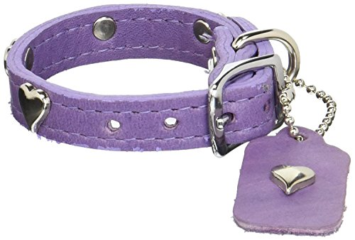 "OmniPet Signature Leather Dog Collar with Heart Ornaments, Lavender, 14"" von OmniPet"