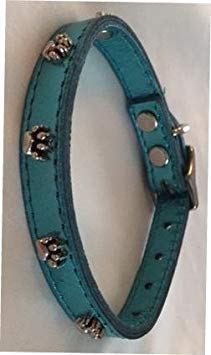 "OmniPet Signature Leather Dog Collar with Paw Ornaments, Metallic Turquoise, 12"" von OmniPet"