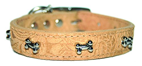 "OmniPet Signature Leather Suede Dog Collar with Paw Ornaments, 1/2"" x 12"", Carmel von OmniPet"