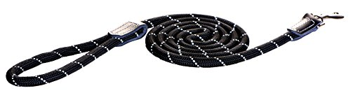 "Reflective Rope Dog Control Leash for Medium Dogs, 1/3"" Wide, 6' Long, Black von Rogz"