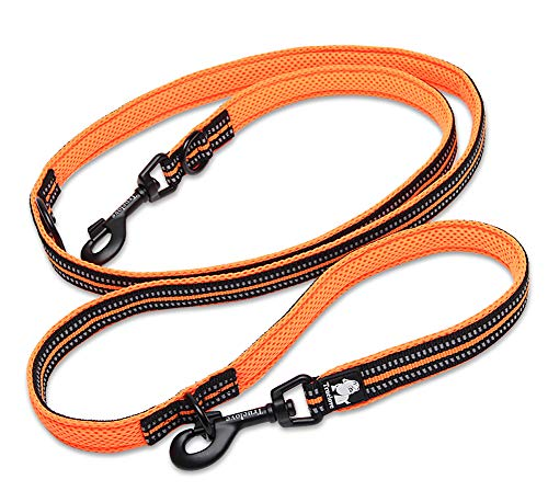 Tineer Pet einstellbar 2 Hunde Hände frei Nylon Multi-funktionale reflektierende Hundeleine für Walking Training Hundeleinen Leashes (M, Orange) von Tineer