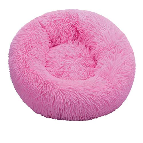 Pet Dog Puppy Cat Fleece Warm Bed House Plush Cozy Nest Mat Pad Pet House Bed Sofa Sleeping Bag Winter Nest Kennel Dogs Pad Pet,Pink,M-Diameter 60cm von WTMLK