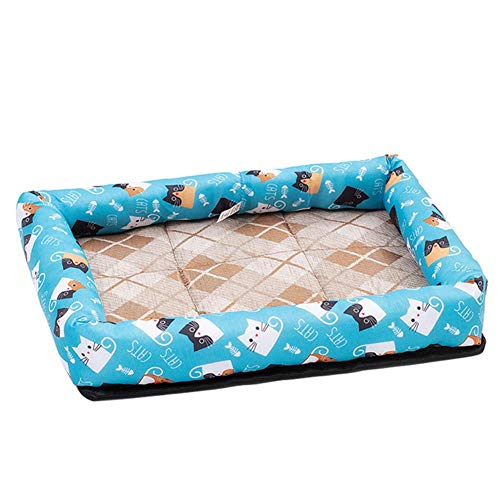 WTMLK Cooling Summer Pad Mat für Hunde Cat Blanket Sofa Dog MatBreathable Pet Hundebett Summer Washable für kleine mittelgroße Hunde, Cat Blue S, USA von WTMLK