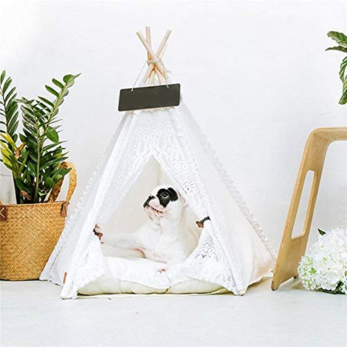 White Lace Pet Tent Dog House Dog Bed Pet House Tent Wood Kennel Puppy Dog Cat Bed House with Mat Pet Supplies Pads,White von WTMLK
